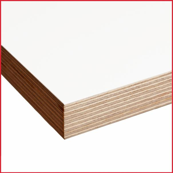 White melamine faced birch plywood mm